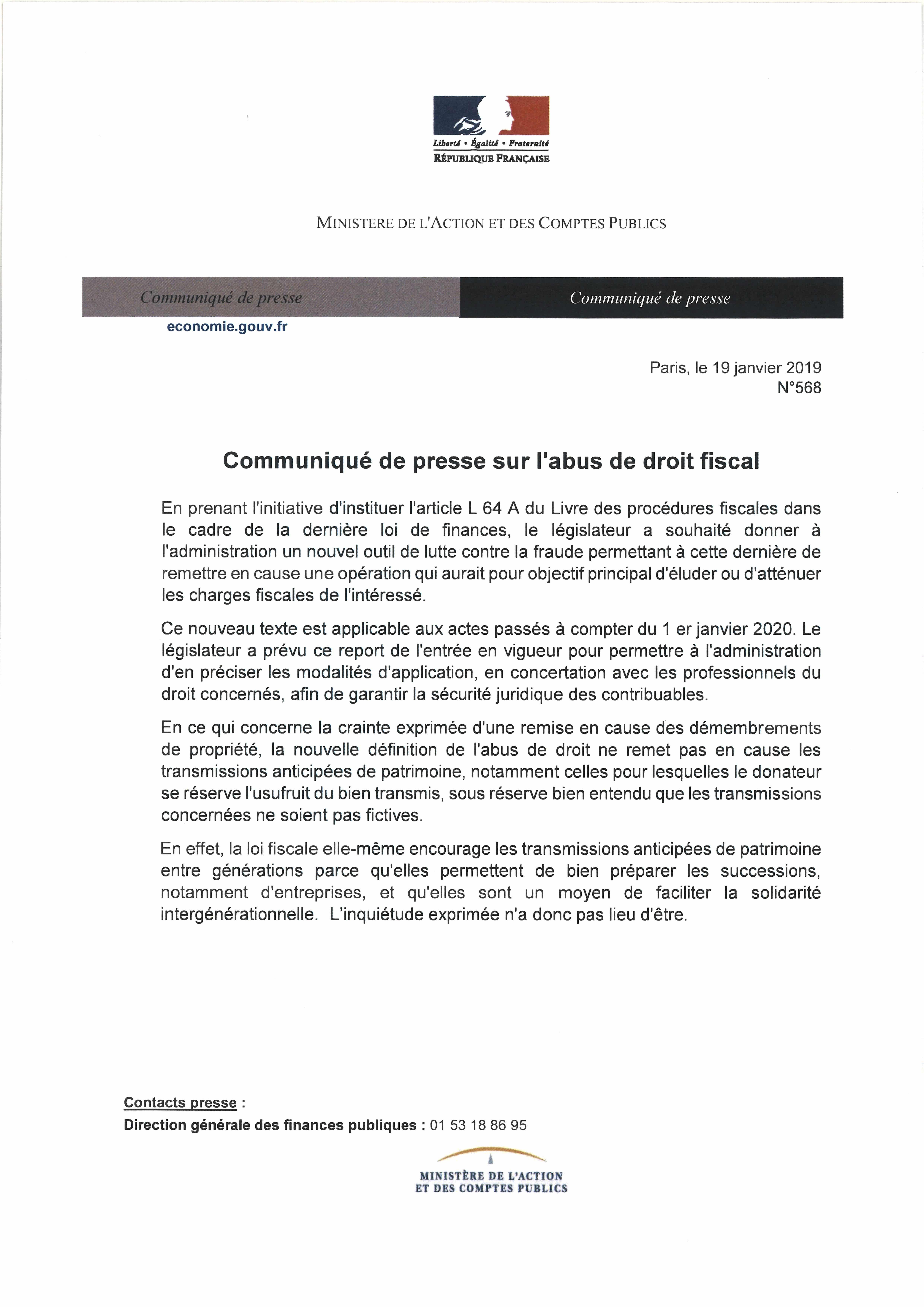 communique de presse administration fiscal abus de droit fiscal démembrement